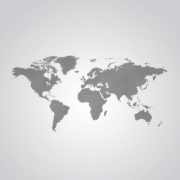 Carte Du Monde En Pointillé Vecteur Premium