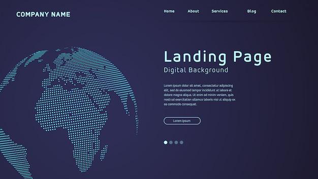 Carte du monde en points d'atterrissage Vecteur Premium
