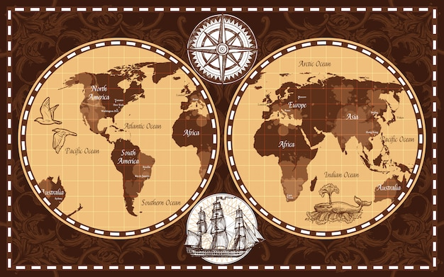 Carte du monde rétro Vecteur gratuit