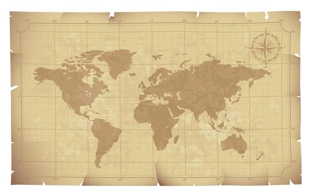 Carte Du Monde Sur Vieille Illustration De Papier Vecteur Premium