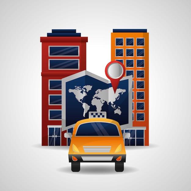 Carte du monde de voyage de transport de taxi et emplacement de ville Vecteur Premium