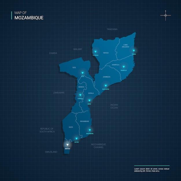 Carte Du Mozambique Avec Des Points De Néon Bleu Vecteur Premium