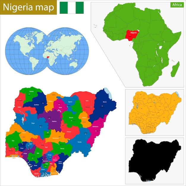 Carte Du Nigeria Vecteur Premium