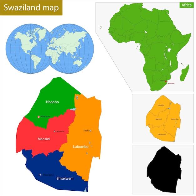 Carte Du Swaziland Vecteur Premium