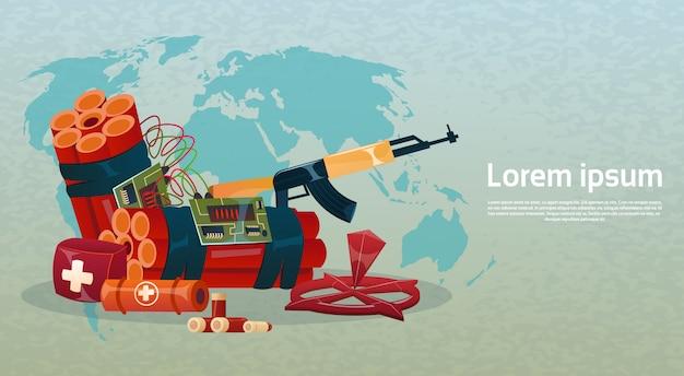 Carte du terrorisme terrorisme armes d'attaque mondiale au-dessus de la terre Vecteur Premium
