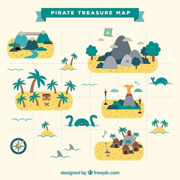 Carte Du Trésor De Pirate Plat Avec Des Palmiers Décoratifs Vecteur gratuit