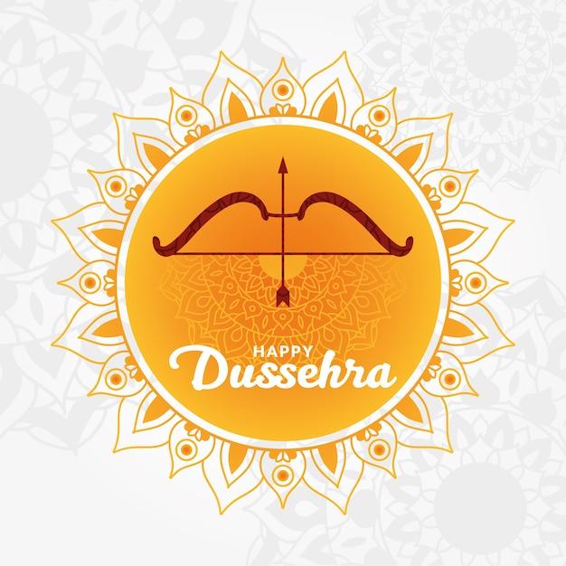 Carte De Dussehra Heureux Avec Arc Et Flèche Sur Orange Vecteur Premium