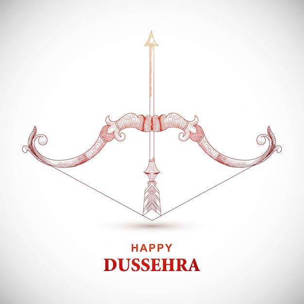 Carte De Dussehra Heureux Avec Arc Et Flèche Vecteur gratuit