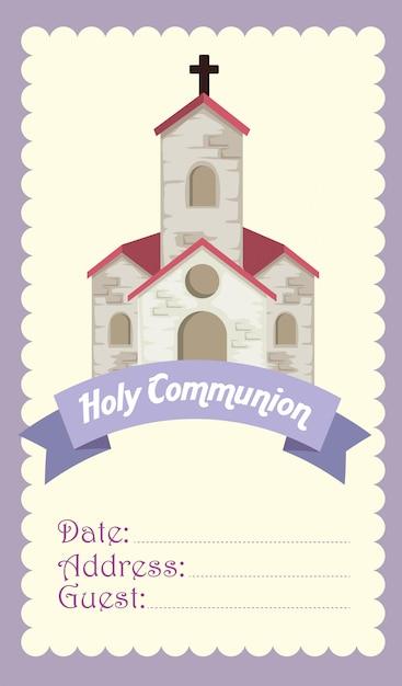 Carte avec église et croix à la religion Vecteur gratuit