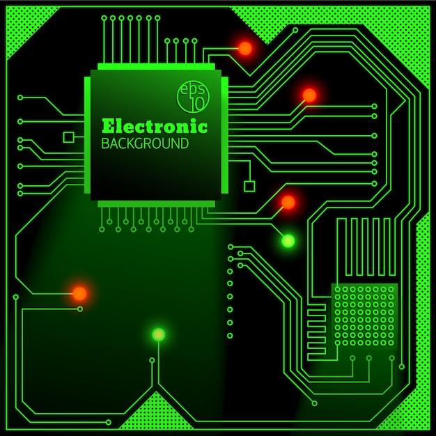 Carte électronique Avec Fond De Lumières Vives Vecteur gratuit