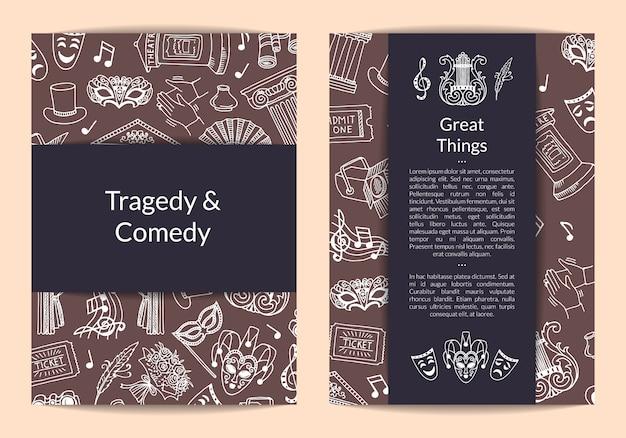 Carte des éléments de théâtre doodle, modèle de flyer pour agence artistique ou illustration de cours de théâtre Vecteur Premium