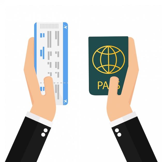 Carte d'embarquement et passeport en mains Vecteur Premium