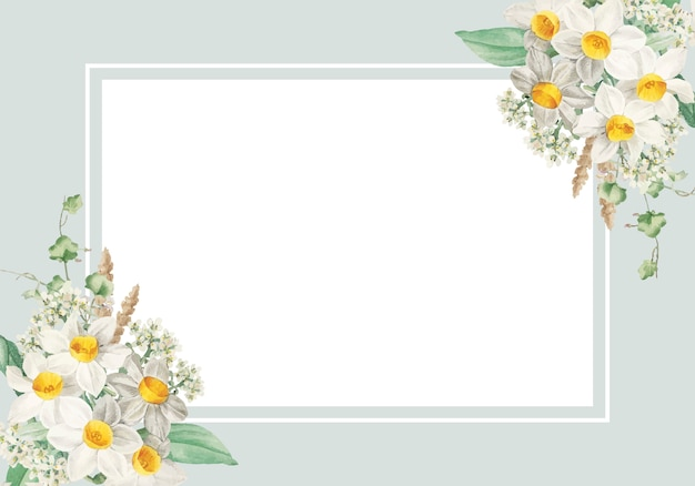 Carte encadrée de fleurs de pâques Vecteur gratuit