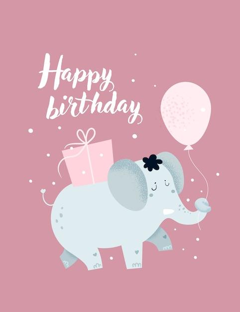 Carte enfantin de joyeux anniversaire, affiche avec un joli bébé éléphant et des coffrets cadeaux Vecteur Premium