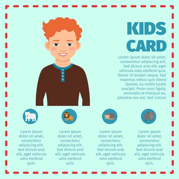 Carte enfants infographique avec garçon Vecteur Premium