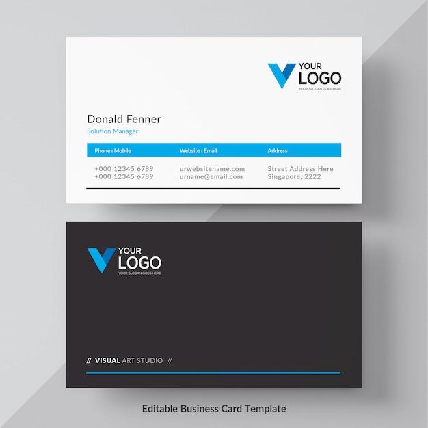 Carte d'entreprise élégante bleue Vecteur gratuit