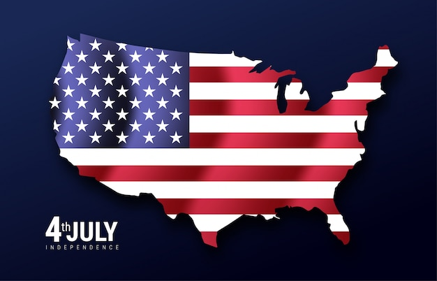 Carte des états-unis d'amérique avec agitant le drapeau, états-unis d'amérique, les étoiles et les rayures. jour de l'indépendance 4 juillet Vecteur Premium