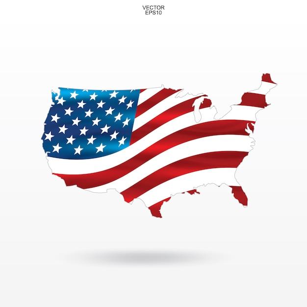 Carte des états-unis avec motif drapeau américain et en agitant. Vecteur Premium