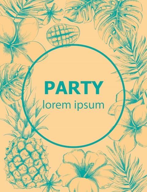 Carte d'été ananas et fleurs tropicales Vecteur Premium