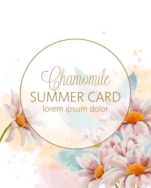Carte D'été De Fleurs De Camomille Avec Place Pour Le Texte Dans Un Cercle Doré Vecteur gratuit