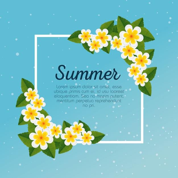 Carte d'été avec des fleurs exotiques et des feuilles tropicales Vecteur gratuit