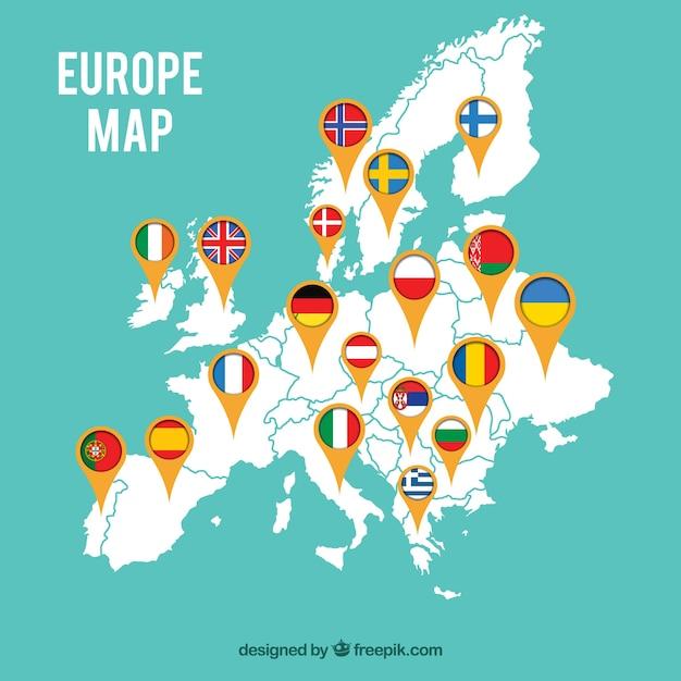 Carte de l'europe avec des drapeaux Vecteur gratuit