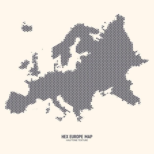 Carte de l'europe hexagonale Vecteur Premium