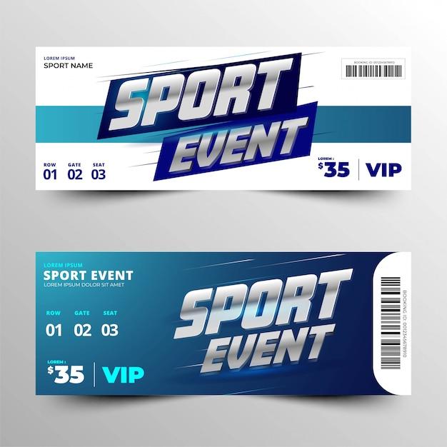Carte d'événement sportif avec un élégant argent métallique argenté Vecteur Premium