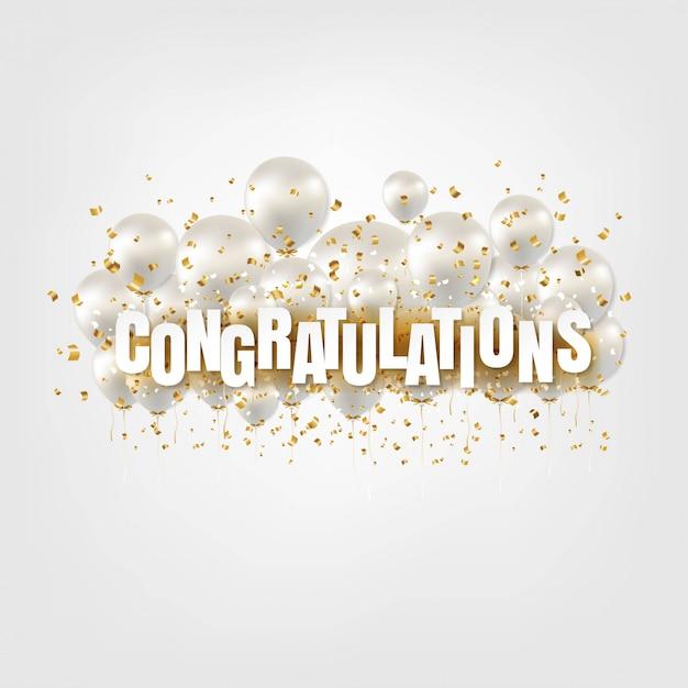 Carte De Félicitations Et Ballons Blancs Sur Blanc Vecteur Premium