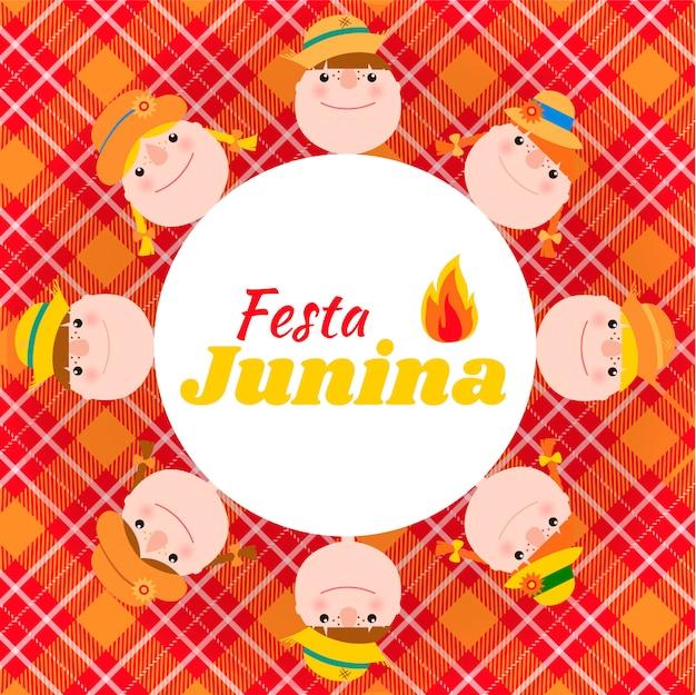 Carte festa junina avec des enfants. Vecteur Premium