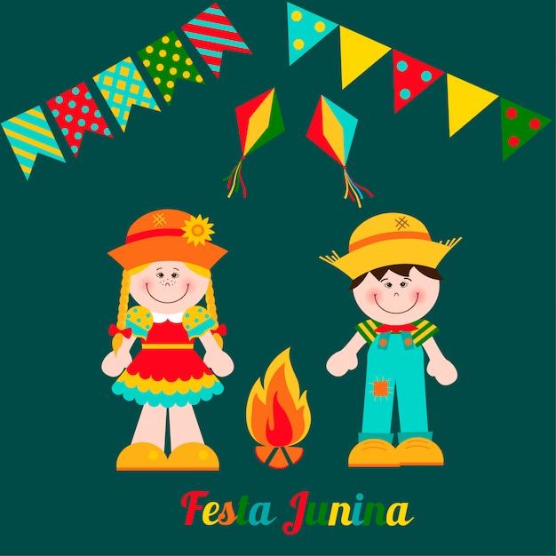 Carte festa junina avec garçon et fille. Vecteur Premium