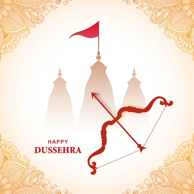 Carte De Festival De Dussehra Heureux Vecteur gratuit