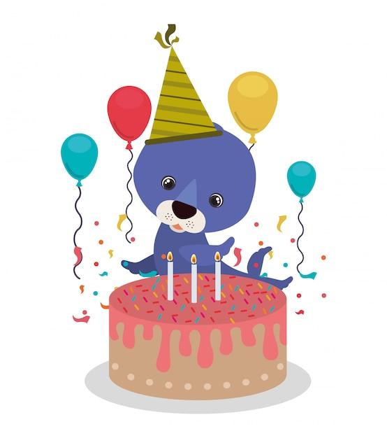 Carte De Fête D'anniversaire Avec Sceau Vecteur Premium