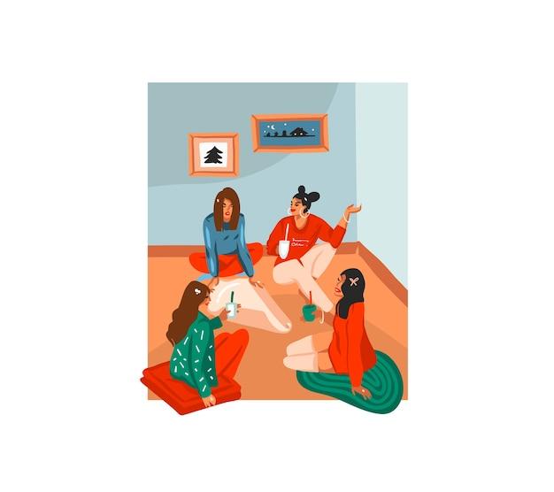 Carte De Fête De Dessin Animé Avec De Jolies Illustrations D'amis De Filles De Noël Déballer Des Cadeaux à La Maison Ensemble Isolé Vecteur Premium