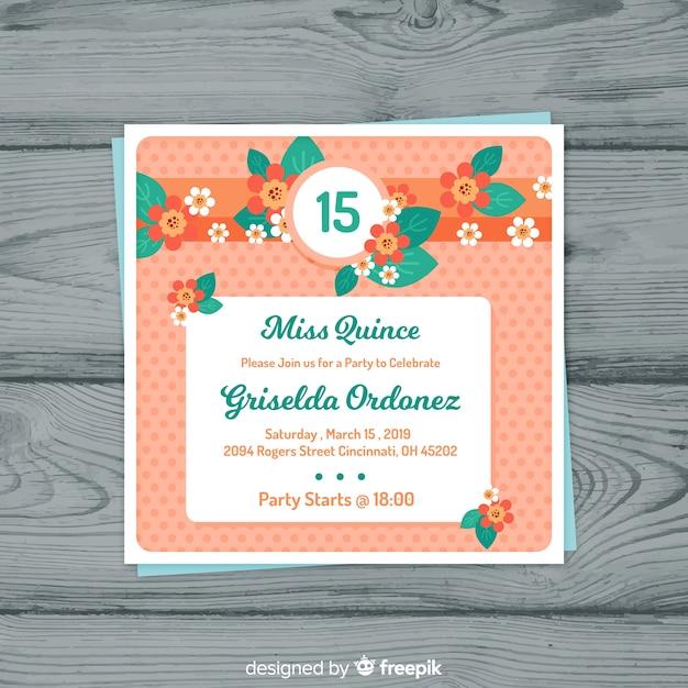 Carte de fête fleurs plates quinceanera Vecteur gratuit