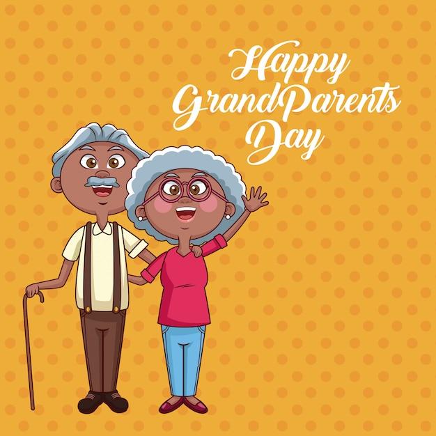 Carte de fête des grands-parents heureux Vecteur Premium