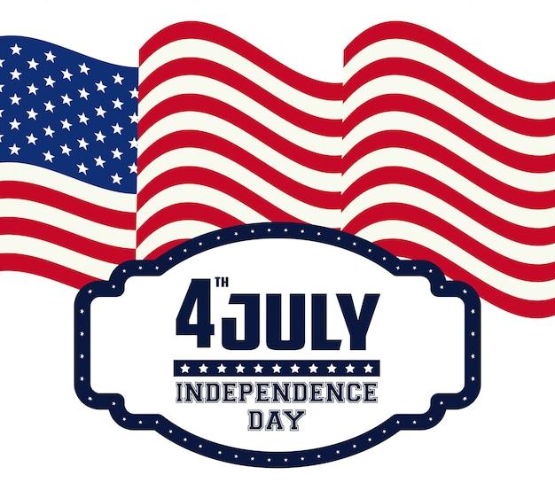 Carte De La Fête De L'indépendance Des états-unis Vecteur Premium