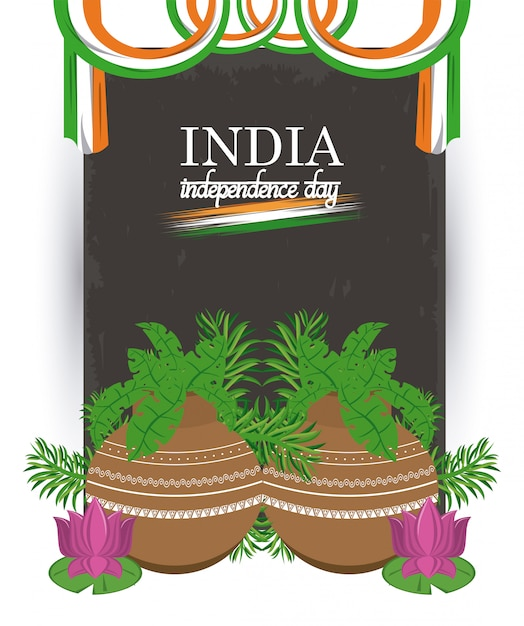 Carte de fête de l'indépendance de l'inde coloré Vecteur gratuit