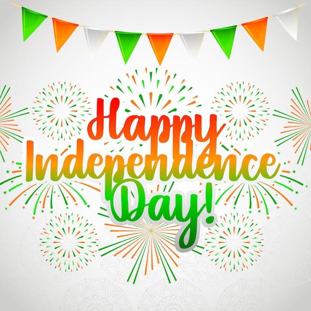 Carte de fête de l'indépendance de l'inde heureuse Vecteur Premium