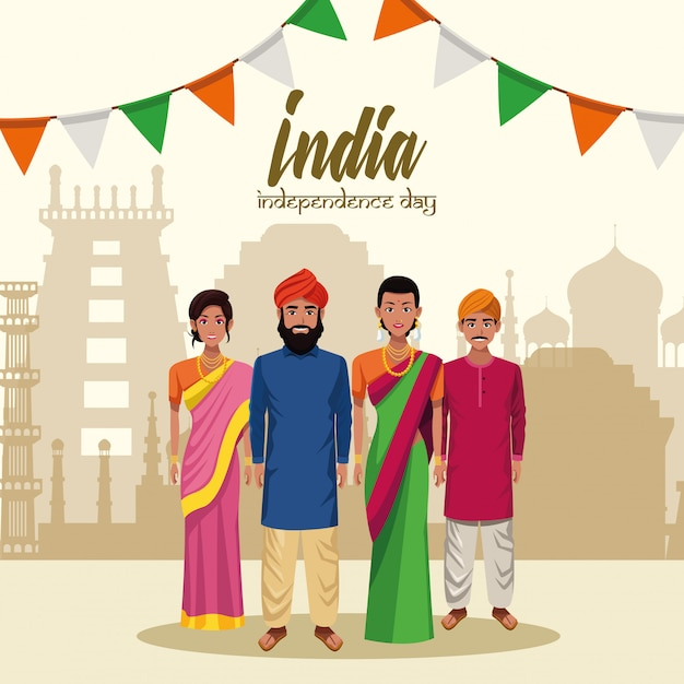 Carte de fête de l'indépendance de l'inde Vecteur gratuit