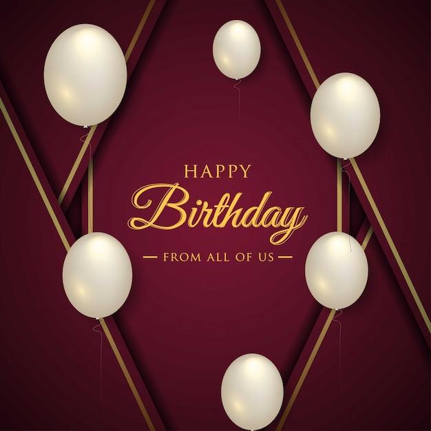Carte de fête joyeux anniversaire avec des ballons réalistes Vecteur Premium