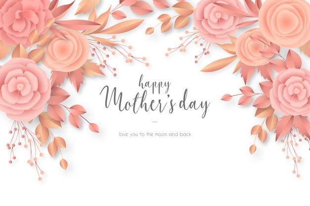 Carte de fête des mères avec des fleurs élégantes Vecteur gratuit
