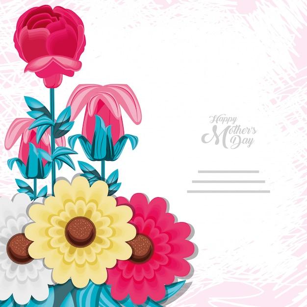Carte de fête des mères heureuse avec des fleurs Vecteur Premium