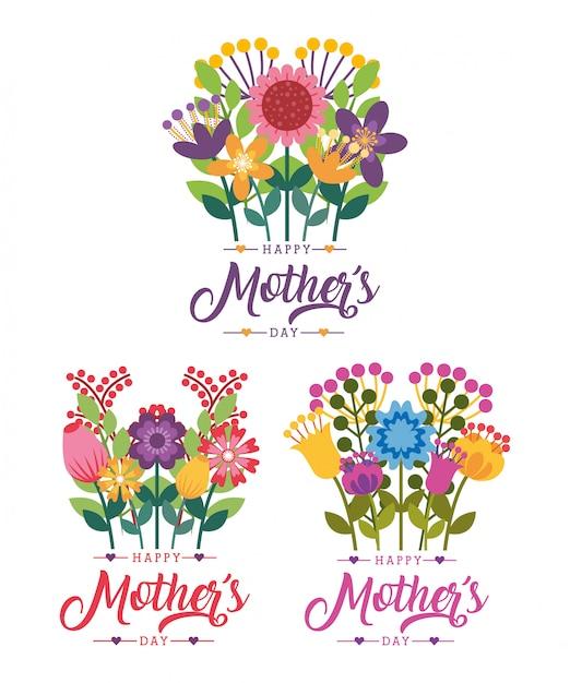 Carte de fête des mères heureux Vecteur Premium