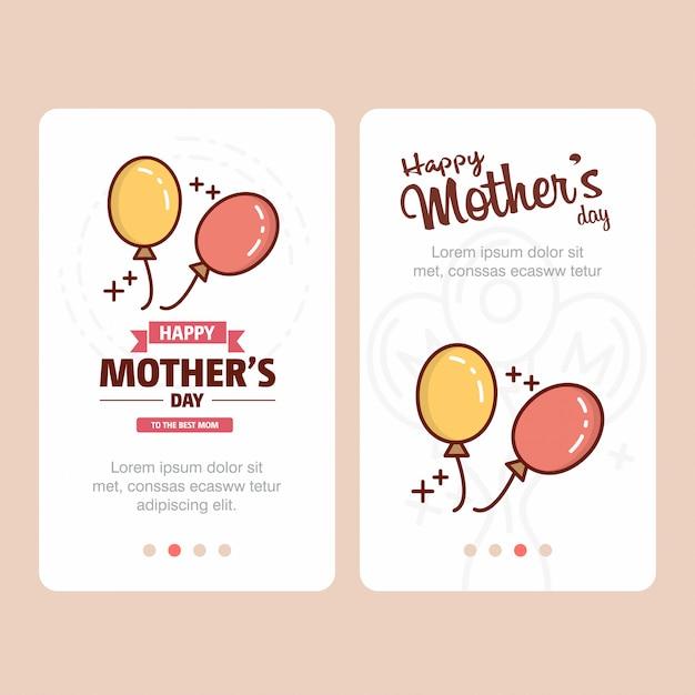 Carte de fête des mères avec logo ballons et vecteur de thème rose Vecteur Premium