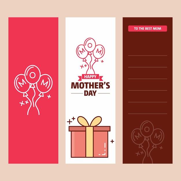 Carte de fête des mères avec logo de boîte cadeau et vecteur thème rose Vecteur Premium
