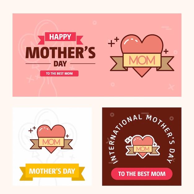 Carte de fête des mères avec logo coeur et vecteur de thème rose Vecteur Premium