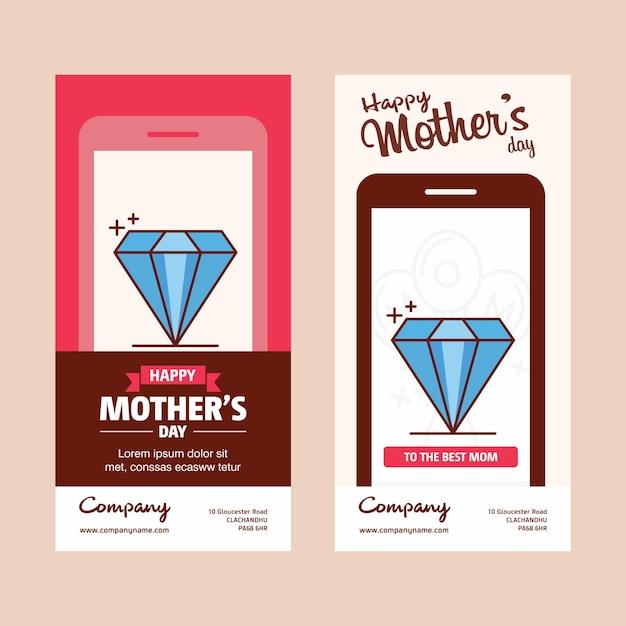 Carte de fête des mères avec logo de diamant et vecteur thème rose Vecteur Premium