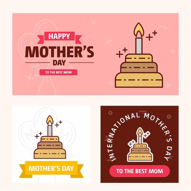 Carte de fête des mères avec logo gâteau et vecteur thème rose Vecteur Premium