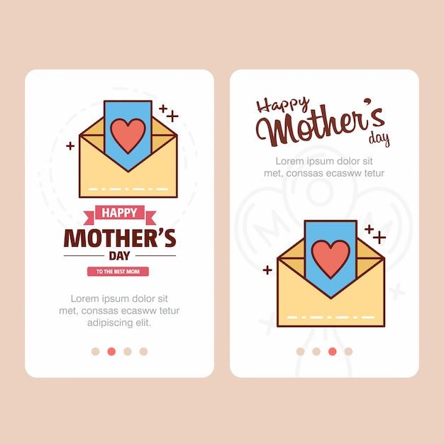 Carte de fête des mères avec logo de lettre et vecteur de thème rose Vecteur Premium